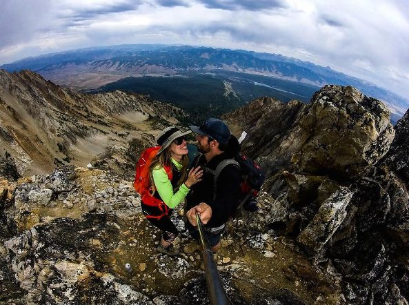 Whitney Marie repping her #lowaboots #hiking the Sawtooth Mountains.