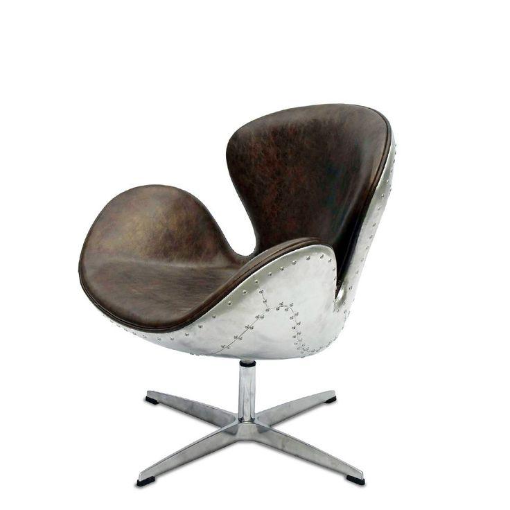 Swan Chair Aviator - дизайнерское кресло. Лофт, английский стиль. Алюминий, натуральная кожа. Для кабинет, офиса, для гостиной, кафе, ресторана.