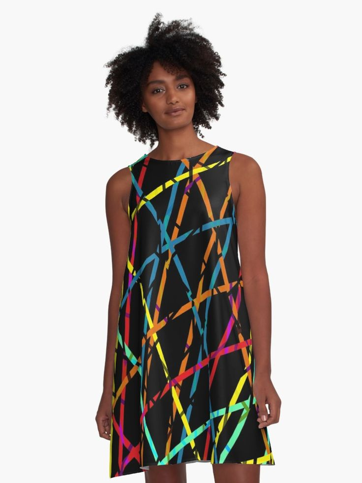Colorful lines A-Line Dress by Emily Pigou. Inspired by the 60's era and its psychedelic colors and  style.  #colorful #alinedress  #dress  #retro  #style #fashion   #60s #redbubble  #gifts #lines #modern #family #online #shopping #giftsforher #xmasgifts #women #woman #girls #39 #1960 #60sfashion #art #design #pattern #pop #popart      • Also buy this artwork on home decor, apparel, stickers, and more.