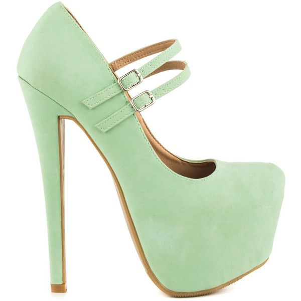 Shoe Republic Women's Sommer - Mint ($50) ❤ liked on Polyvore featuring shoes, pumps, heels, high heels, green, mary jane shoes, high heel pumps, mint green shoes, heeled mary janes and green pumps