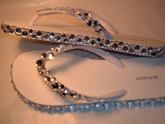 Rhinestone Bling Flip Flops Bridal Wedding by EVRhinestones, $28.00