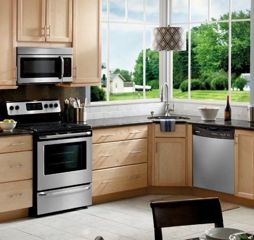Frigidaire 4-pc stainless steel kitchen appliance package.  Click through for dimensions and other details.  Residential Curbside Delivery