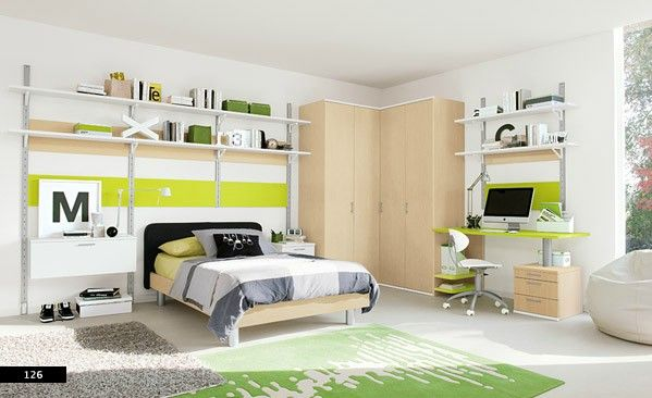 Kids Room, Glossy kids bedroom with some books on attractive shelves: Beautiful Kids Room Designs by ColombiniCasa