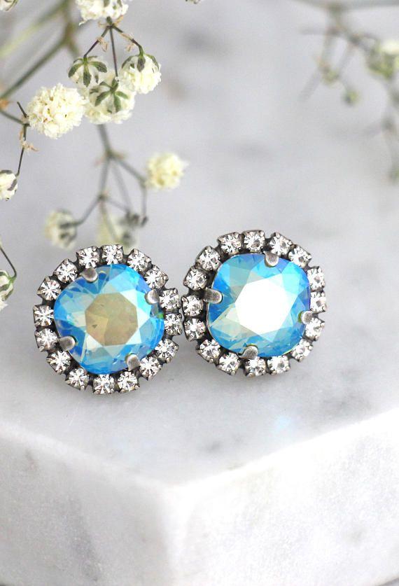 Mint Blue Earrings- Handmade Earrings Vintage style Earrings Jewelry from Israel Gift  For Women.
