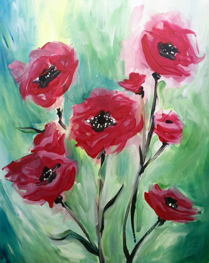 Paint Nite - Dreaming of Poppies | Paintnite | Painting ...