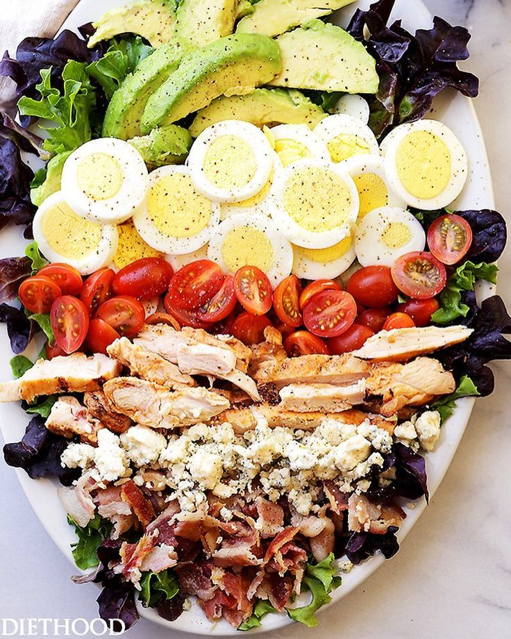 COBB SALAD By @diethood . Follow her for more @diethood Ingredients FOR THE DRESSING 3/4-cup non-fat plain yogurt 1 tablespoon extra virgin olive oil 1 teaspoon white vinegar 1 teaspoon Dijon mustard 2 tablespoons reduced fat crumbled blue cheese salt and fresh ground pepper to taste FOR THE SALAD 10 cups mixed salad greens 8 ounces shredded cooked chicken breast 4 slices turkey bacon cooked to a desired crispness and crumbled 3 large hard boiled eggs sliced 1 cup cherry tomatoes halved 1…