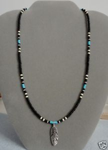 Black & Blue Turquoise Silver Feather Beaded Necklace Native American
