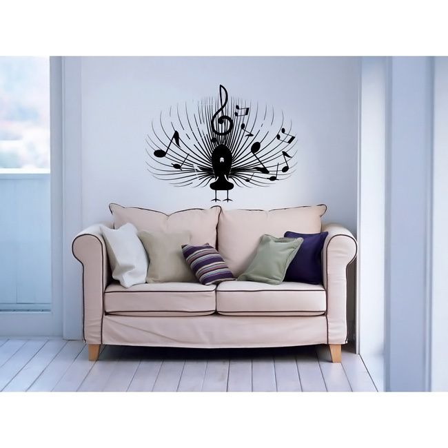 Musical Notes Bird Black Vinyl Wall Decal