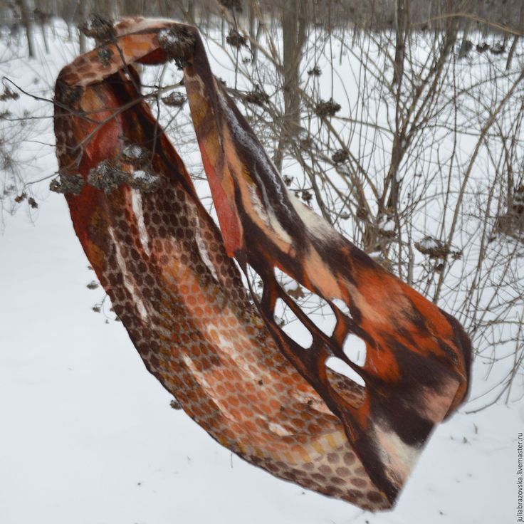 Купить Снуд валяный Дикий мед. Валяный,теплый,красивый,коричневый шарф,хомут - коричневый