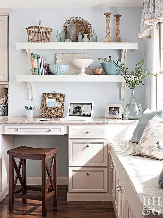 Whether you want to put the home office in the kitchen or just set up a small desk area, find inspiration from these hardworking kitchen workstations.