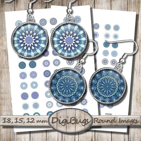 Blue Mandala Circles, Digital Collage Sheet, Printable Blue Shades, 12 mm, 15 mm, 18 mm Circles, Blue Digital Mandala, Instant Download, c5