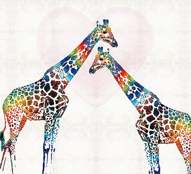 Sharon Cummings - Colorful Giraffe Art - I