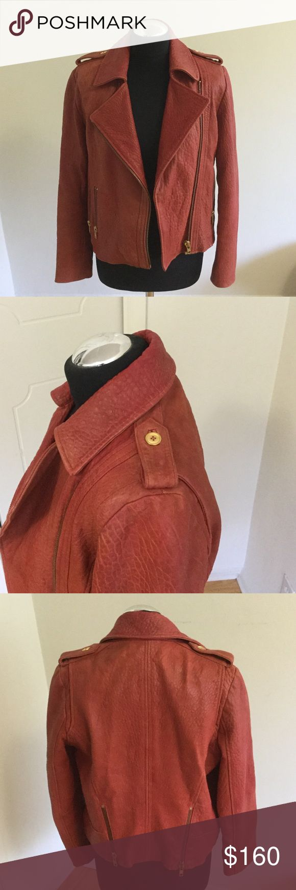 Reiss leather motor jacket Faded salmon color, size M. Beautiful strong, but not stiff leather with gold accessories. Reiss Jackets & Coats