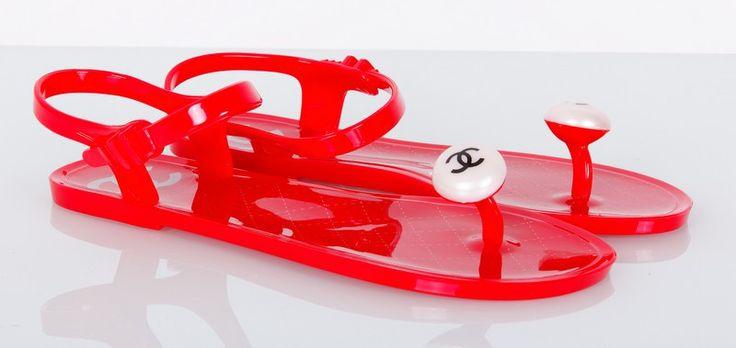 Тапочки Chanel красные #19268
