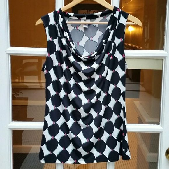 3/30% Modern Cowlneck Top Black and white pattern with points of bright pink and mint green.  Nice draped cowlneck.  EUC! Worthington  Tops Blouses
