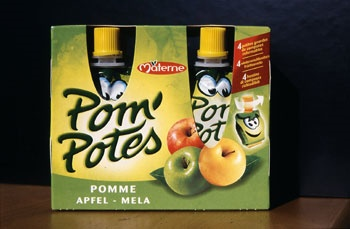 """It is interesting to see that """"Pom' Potes"""", includes a smiley on its product which particularly seduce young people. Moreover the packaging is really effective because of the ease of the use of the product. Actually it allows to carry those """"Pom' Potes"""" in a bag for example with the garantee of solidity and preservation (primary packaging). In terms of secondary packaging, the packs are made of cardboard, which is recyclable, and are space-saving."""