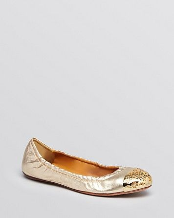 Tory Burch Cap Toe Ballet Flats - Cami Metallic | Bloomingdale's