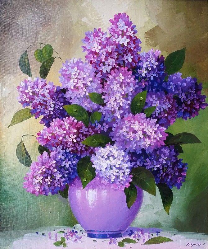 Natyurmort S Sirenyu Natyurmort S Sirenyu Lilac Painting Watercolor Flowers Flower Painting