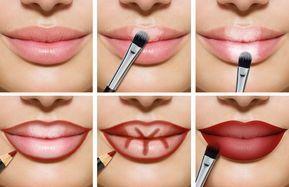 Volle Lippen schminken rot helle dunkle Bereiche #…