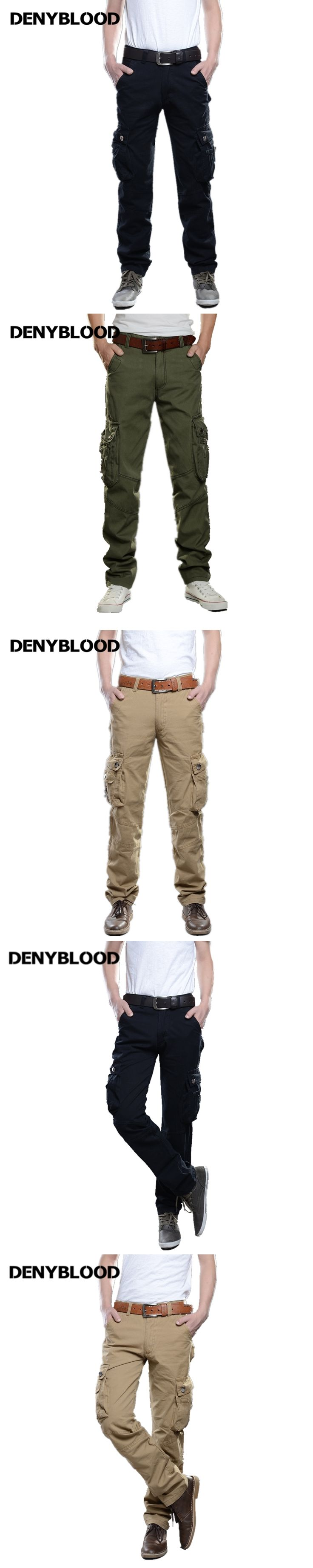 Denyblood Jeans Mens Cargo Pants Khaki Chinos Cotton Twill Army Green Military Working Clothing Casual Pants Straight 2187