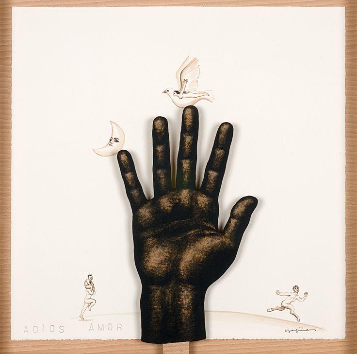 ADIÓS AMOR. 40 x 40 cm. Demegrafía, nogalina y papel....  1.200 €