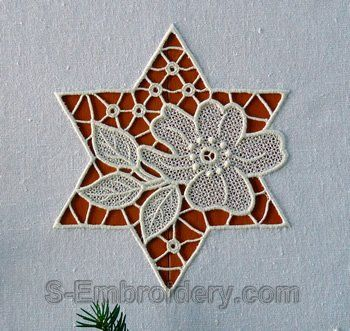 cutwork embroidery | Cutwork lace floral star machine embroidery design