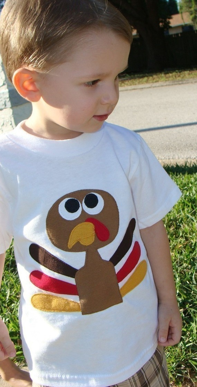 Thanksgiving Turkey Custom Applique Tshirt by OhBananas on Etsy,