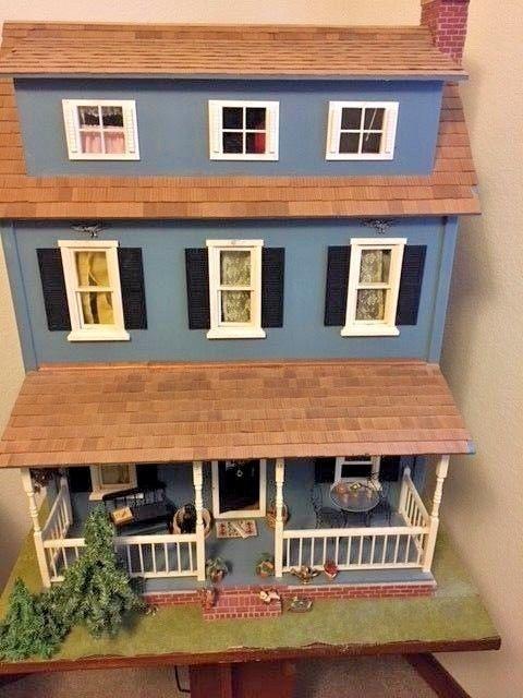 Vintage Wooden Dollhouse Original Handmade With Furnishings