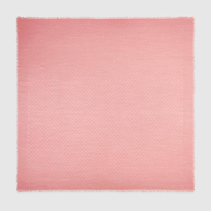 GUCCI Silk Wool Gg Jacquard Shawl - Pink Silk-Wool. #gucci #all