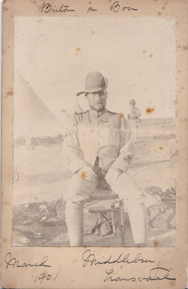 Rare. Cabinet Card. Boer War. Male POW at Middelburg Concentration Camp. 1901
