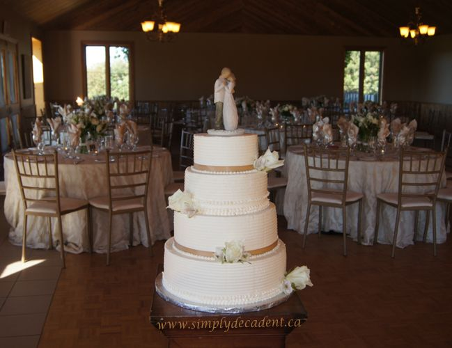 """Round Wedding Cakes - 4 Tier Ivory Textured Buttercream Wedding Cake with Willow Tree """"Promise"""" Topper"""