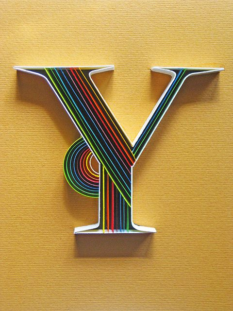 """""""I love the straight version of quilling. Paper Typography - Y by all things paper, via Flickr"""""""