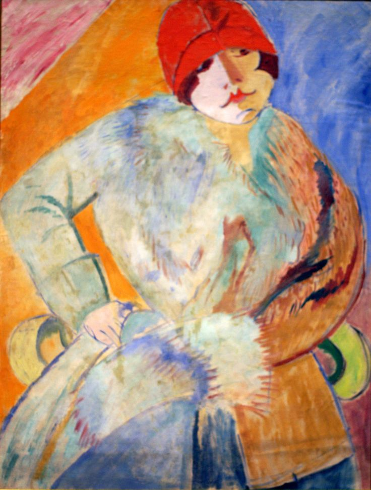 Sigrid Hjertén, Frau mit Pelz und rotem Hut - Woman wearing a fur coat and a red hat (1915)
