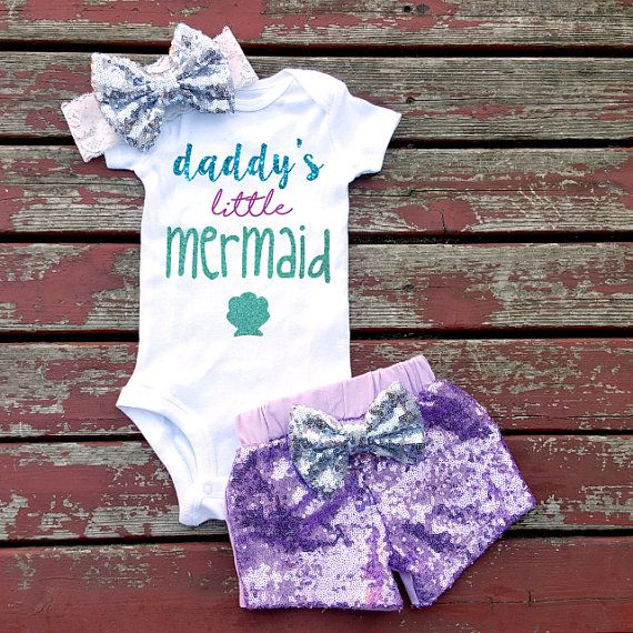 Daddy's Little Mermaid Baby Girl Bodysuit, Under The Sea, Newborn, Shells, Starfish,Listing Is For Bodysuit Only