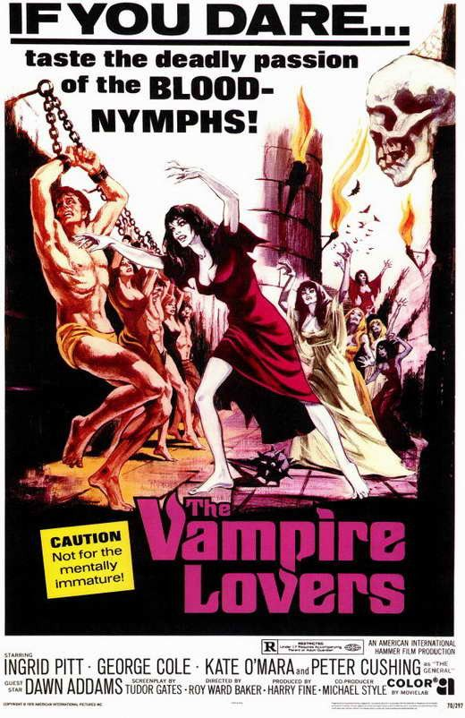 """Vampire Lovers (1970) Buxom vamps and bloodthirsty beauties abound in this """"absolutely yummy"""" (New York) thriller showcasing the netherworld's most voluptuous vampire! Traveling the countryside search"""