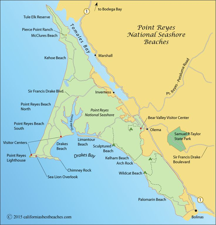 map of Point Reyes National Seashore, Marin County, CA