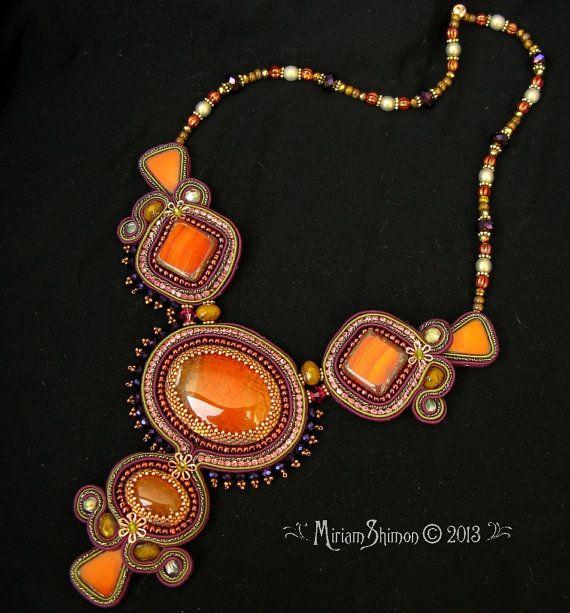 Dragon Vein Soutache orange olive necklace by MiriamShimon on Etsy, $225.00