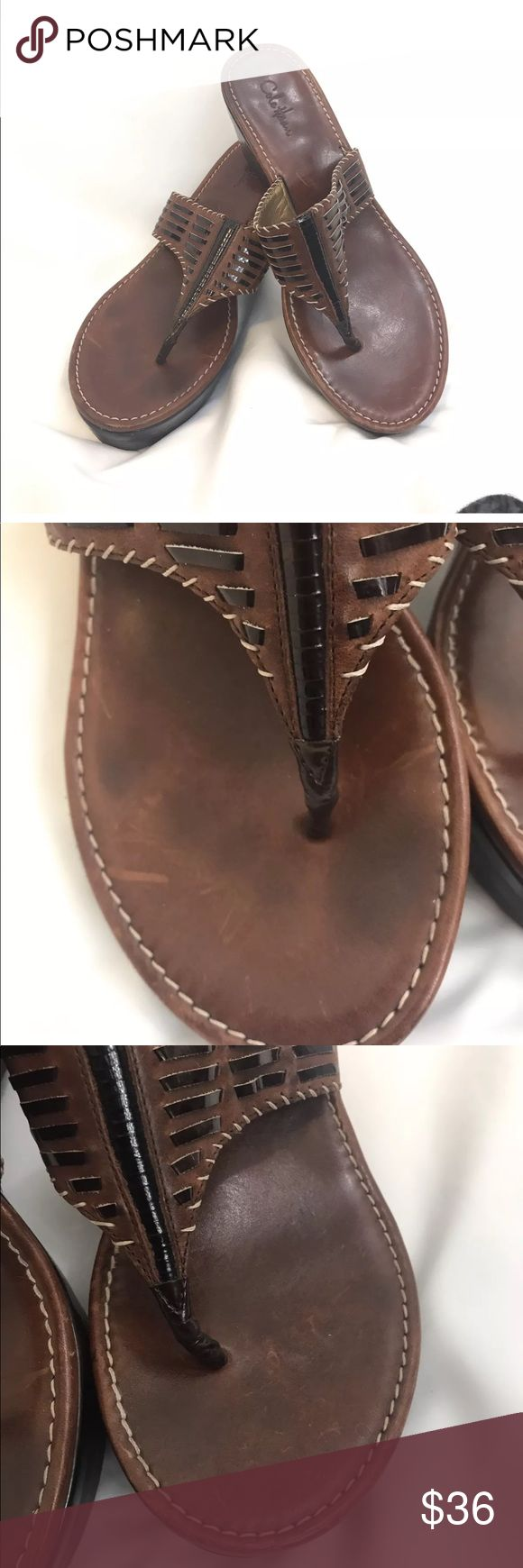 Cole Haan Nike Air Leather Sandals Thongs 7.5 Brown Leather Slip On Wedge Thongs With Nike Air Rubber Soles Size 7.5B Cole Haan Shoes Sandals