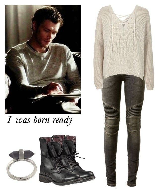 """""""Klaus Mikaelson - The Originals"""" by shadyannon ❤ liked on Polyvore featuring moda, Balmain, River Island, Steve Madden e Karen Kane"""