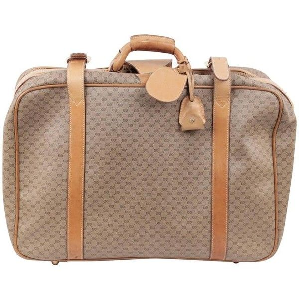 Preowned Gucci Vintage Tan Gg Monogram Canvas Cabin Size Suitcase... (8,325 MXN) ❤ liked on Polyvore featuring bags, luggage, brown and suitcases
