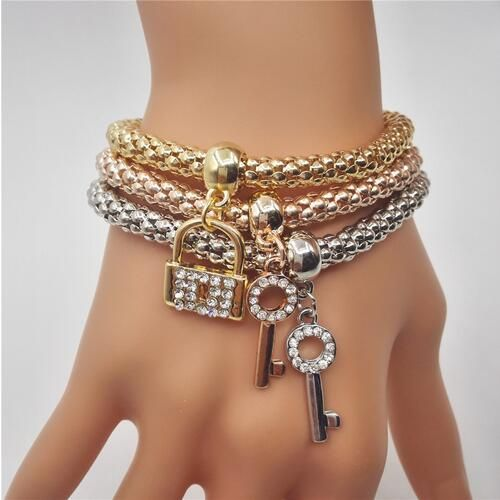 3PCS Elastic Crystal Love Key Pendant Elegant Gold Silver Multilayer Bracelets at Banggood