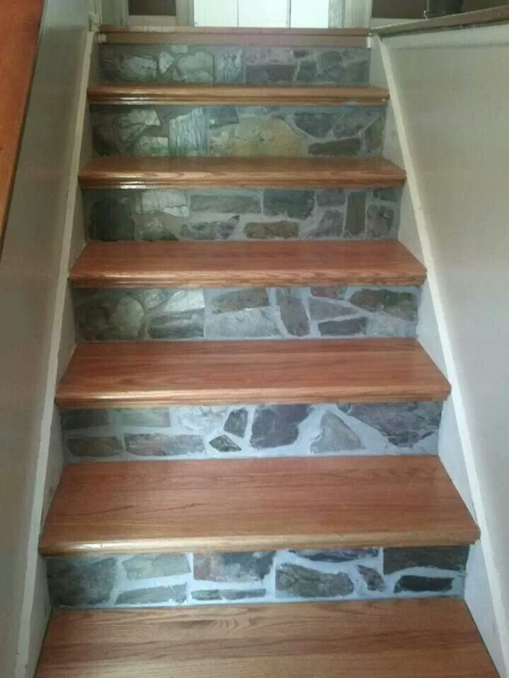 Wood and stone staircase. Love it!