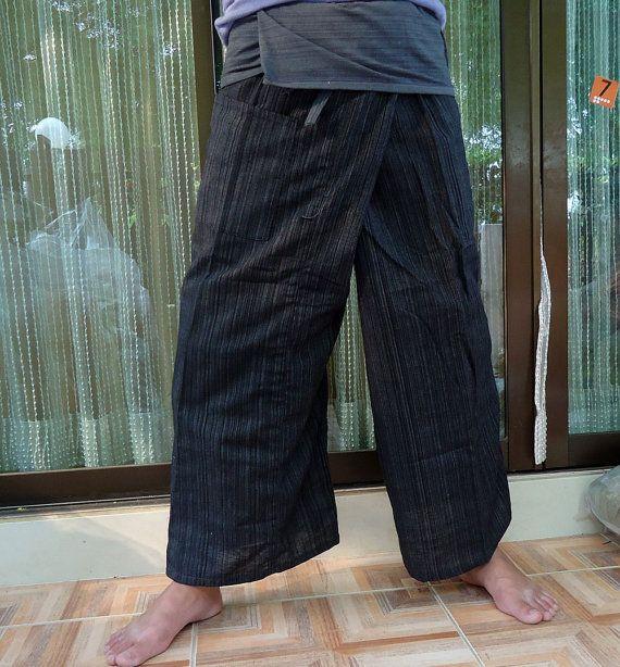 Pantaloni di Yoga Pant Pescatore tailandese Thai pantaloni avvolgono pantaloni Unisex gratis-dimensione bicolore nero carbone