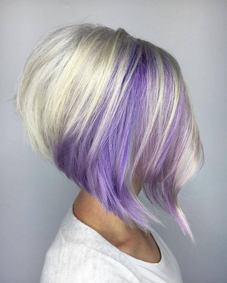 Purple and blonde stacked bob