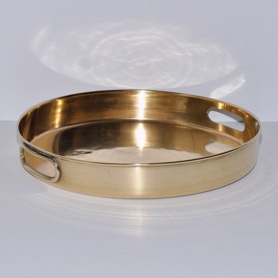 Art Deco Art Moderne Solid Brass Round Tray by DesignSoldier