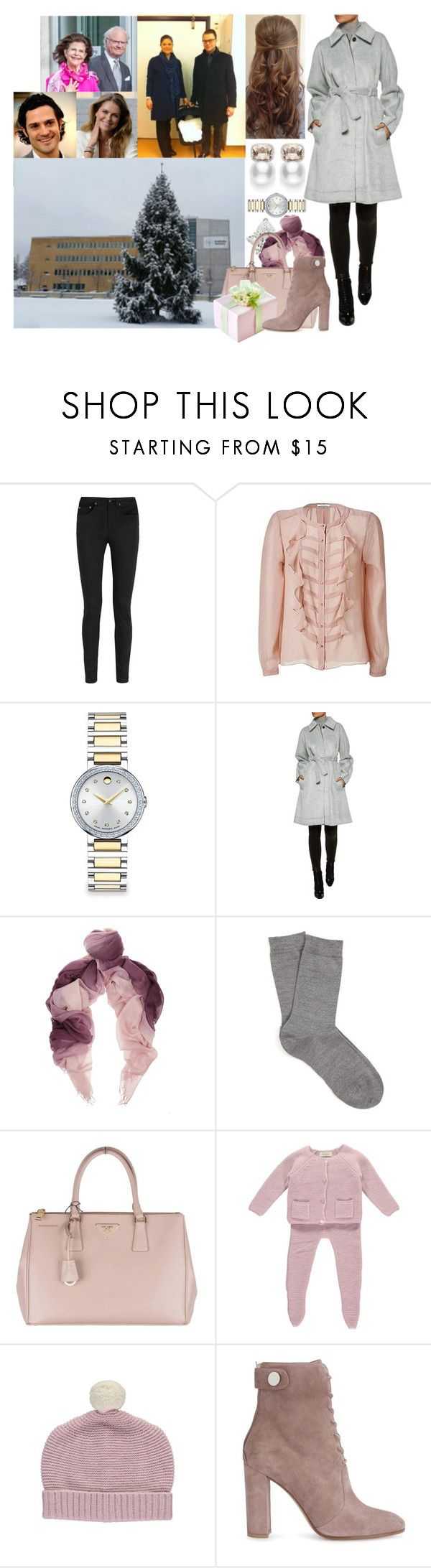 """""""Visiting her Newborn Niece and Goddaughter, Estelle, and Victoria + Daniel at Karolinska University Hospital with the Carl-Philip, Mamma, Pappa, and Madeleine"""" by louiseingrid-ofdenmark ❤ liked on Polyvore featuring Yves Saint Laurent, By Malene Birger, Mikimoto, Movado, Marissa Webb, Falke, Prada and Gianvito Rossi"""