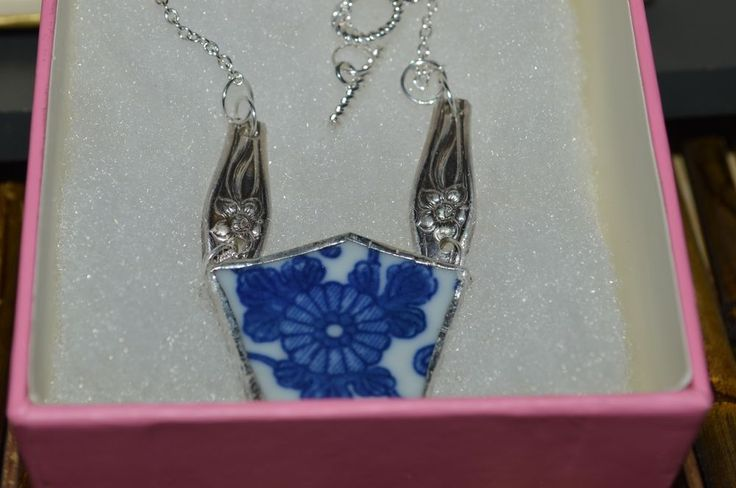 Recycled Broken China & Flatware Asian Blue Floral Pendant Necklace #Handmade #Chain