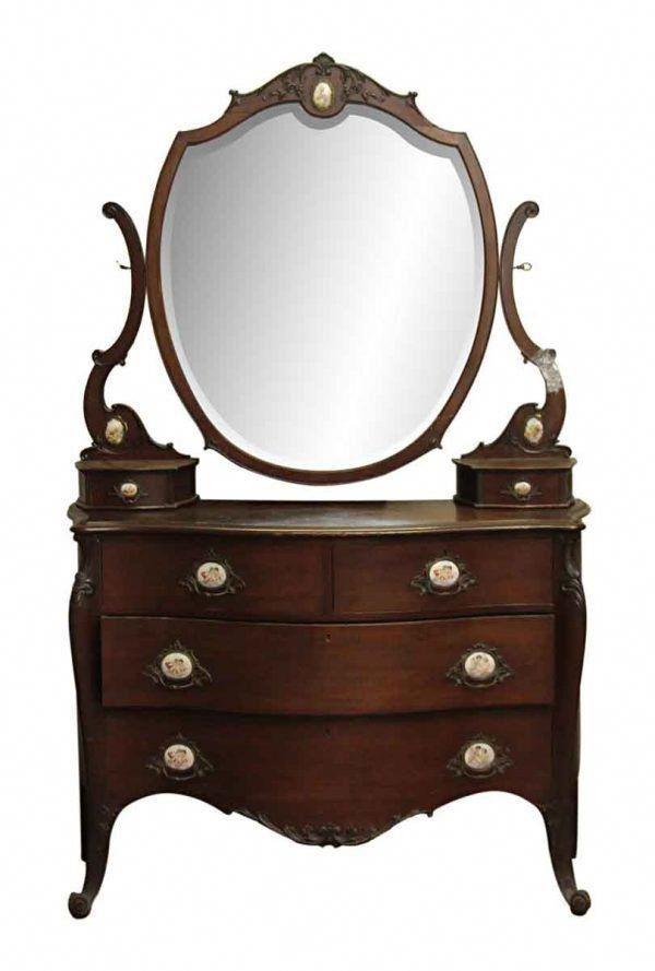 Bedroom - Queen Anne Mahogany Vanity Dresser #AntiqueFurnitureForSale - Bedroom - Queen Anne Mahogany Vanity Dresser