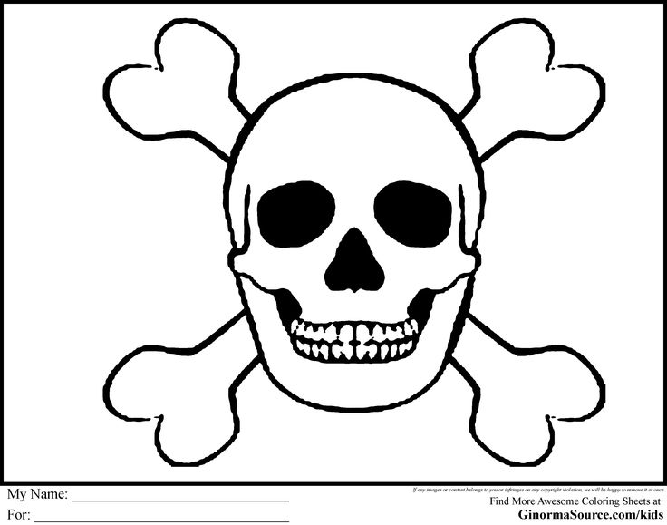 Pirate coloring pages skull and bones pirates for Skull bones coloring pages