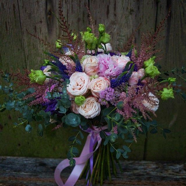 Birthday bouquet / peony / peony roses / purple and green eustoma / eucalyptus / purple achillea